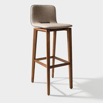 Contemporary bar chair / upholstered / oak / walnut