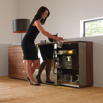 Contemporary sideboard / oak / walnut / with glass panel
