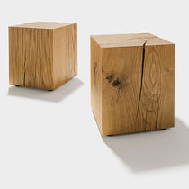 Contemporary side table / oak / rectangular / round