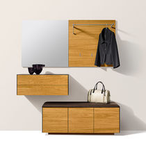 Contemporary entryway cabinet / wall-mounted / oak / walnut
