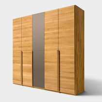 Contemporary wardrobe / oak / walnut / solid wood