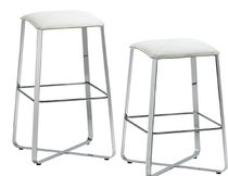 Contemporary stool / leather / steel / upholstered