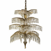 Traditional chandelier / crystal / brass / handmade