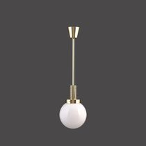 Pendant lamp / traditional / blown glass / brass