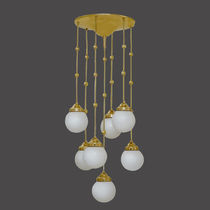 Traditional ceiling light / glass / brass / LED