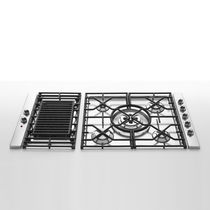 Gas cooktop / with grill / cast iron / stainless steel
