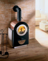 Wood fireplace / contemporary / closed hearth / free-standing