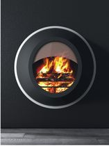 Wood fireplace / contemporary / open hearth / wall-mounted