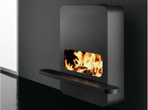 Wood fireplace / contemporary / closed hearth / wall-mounted