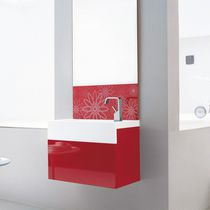 Wall-hung washbasin cabinet / lacquered wood / oak / contemporary