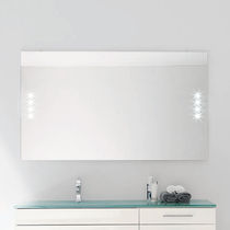 Wall-mounted bathroom mirror / LED-illuminated / contemporary / rectangular