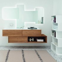 Double washbasin cabinet / wall-hung / free-standing / oak