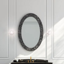 Wall-mounted bathroom mirror / traditional / rectangular / oval