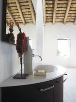 Wall-hung washbasin cabinet / oak / glass / marble