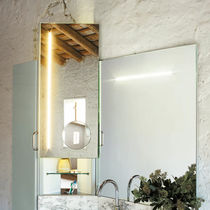 Wall-mounted bathroom mirror / LED-illuminated / with storage compartment / contemporary