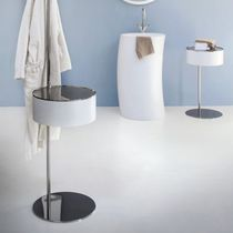 Contemporary side table / steel / glass / round