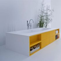 Acrylic bathtub / with integrated cupboards