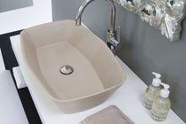 Countertop washbasin / rectangular / marble / contemporary