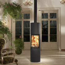 Wood heating stove / contemporary / central / steel