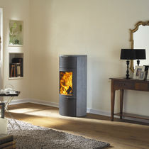 Wood heating stove / contemporary / steel / ceramic