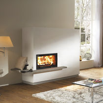 Wood-burning fireplace / contemporary / closed hearth / built-in