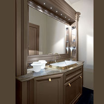 Free-standing washbasin cabinet / wooden / traditional / with mirror
