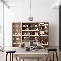 Contemporary kitchen / stainless steel / solid wood