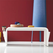 Contemporary upholstered bench / leather / with magazine rack / white