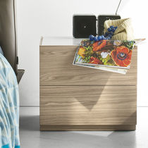 Contemporary bedside table / wooden / glass / rectangular
