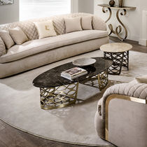 Contemporary coffee table / iron / leather / stone