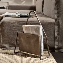Contemporary magazine rack / residential / steel / leather