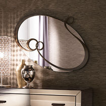 Wall-mounted mirror / hanging / contemporary / oval