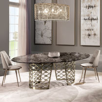 Contemporary table / metal / marble / oval