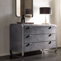 Contemporary chest of drawers / leather