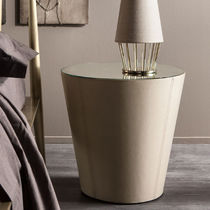 Contemporary bedside table / wooden / iron / round