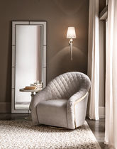 Traditional armchair / metal / swivel