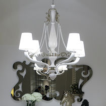Traditional chandelier / steel / fabric / wooden
