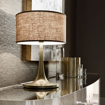 Table lamp / traditional / aluminum / fabric