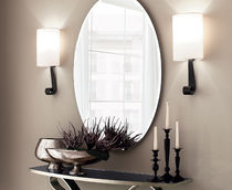 Contemporary wall light / iron / linen / incandescent