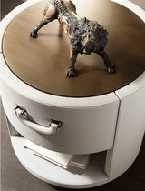 Contemporary bedside table / glass / metal / leather