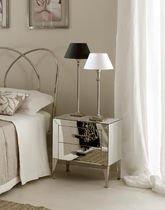 Contemporary bedside table / metal / rectangular / extending