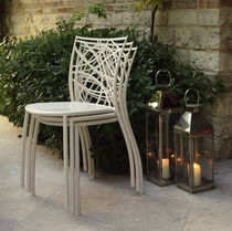 Contemporary chair / stackable / metal / outdoor