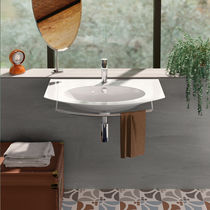 Wall-mounted washbasin / ceramic / contemporary