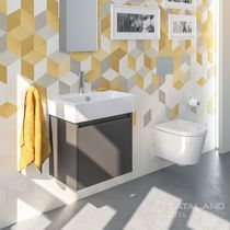 Semi-recessed washbasin / rectangular / ceramic / contemporary