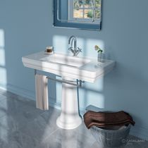 Free-standing washbasin / rectangular / ceramic / contemporary