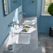 Double washbasin / undercounter / rectangular / ceramic