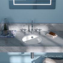Double washbasin / undercounter / round / ceramic