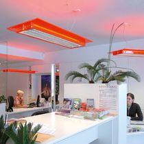 Hanging light fixture / LED / rectangular / metal