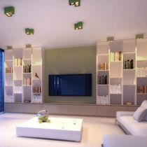 Contemporary ceiling light / rectangular / metal / fiberglass