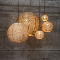 Pendant lamp / contemporary / rattan / LED